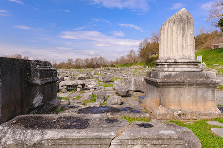 corinthian: KRINIDES, GREECE - FEBRUARY 25, 2010: Ruins of the corinthian north-east temple at Philippi