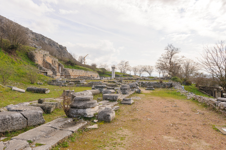 atrium: KRINIDES, GREECE - FEBRUARY 25, 2010: Site of the Atrium or Heroon of the Basilica A, a large three-aisled church built towards the end of the 5th century, at Philippi