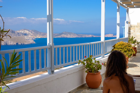 kyklades: MELOS, GREECE - SEPTEMBER 3, 2012: View of the Melos bay that leads to Adamantas Port from the town of Plaka. Editorial