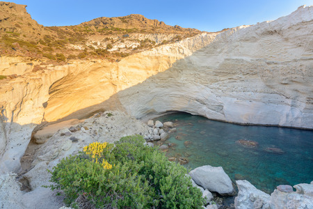 sink hole: Sykia Beach or Sykia Cave was a sea cave the roof of which collapsed, creating a sink hole. It is located on the west coast of Melos Island in Greece and is accessible only by sea.