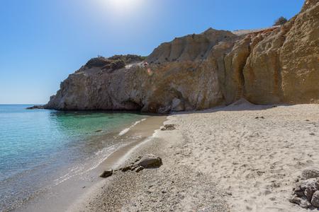 kyklades: Tsigrado beach on the south coast of Melos island with no people.
