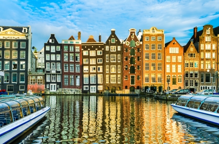 Traditional houses of Amsterdam, Netherlands photo
