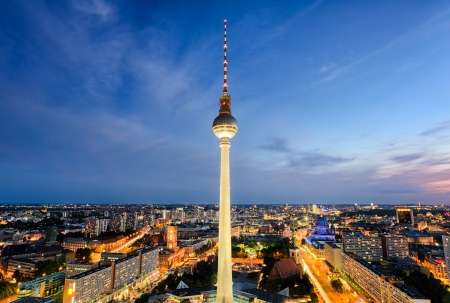 The skyline of Berlin at night photo