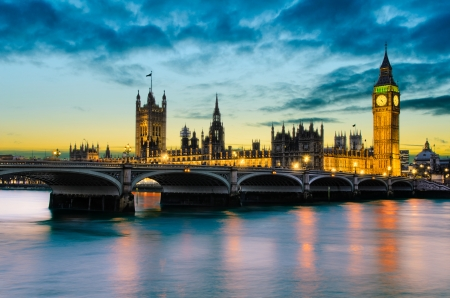 Big Ben and the Palace of Westminster at sunset, London, UK photo