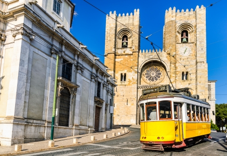 Historic yellow tram of Lisbon, Portugal photo