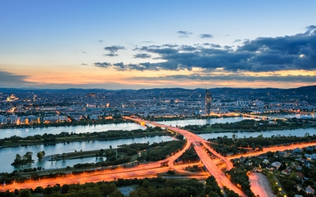Aerial view of Vienna during sunset, Austria photo