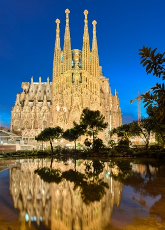 Sagrada Familia at night, Barcelona photo