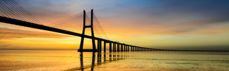 Vasco da Gama bridge at sunrise, Lisbon photo