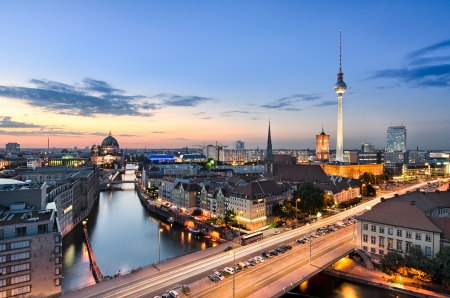 Berlin skyline panorama during sunset, Germany photo