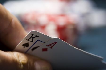 cartas de poker: una mano de póquer en el Texas Holdem Foto de archivo