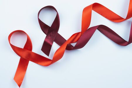 Aids awareness, red ribbon on white background with copy space for text. World Aids Day, Healthcare and medical concept. Stock Photo