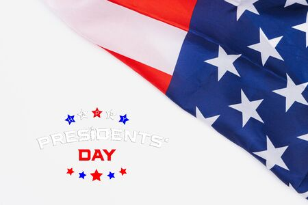 Happy Presidents' Day typography over white background with US American flag border Stock Photo