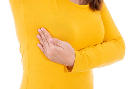 Woman hands doing breast self exam for checking lumps and signs of breast cancer isolated white background. Medical, healthcare for advertising concept.