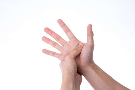 Man hand massaging his hand isolated white background. Medical, healthcare for advertising concept.
