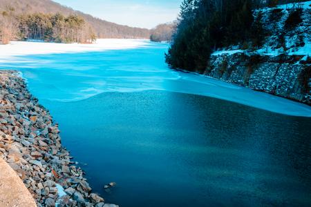 Lake at the dam of Yellow Creek Park Stock Photo