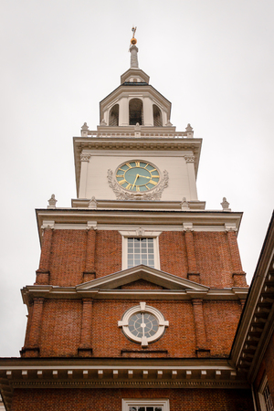 Clock tower on Independence Hall in Philadelphia PA