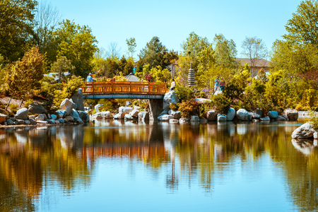 The iconic bridge at the Japanese gardens in the Frederick Meijer Gardens on a spring day in Grand Rapids Michigan