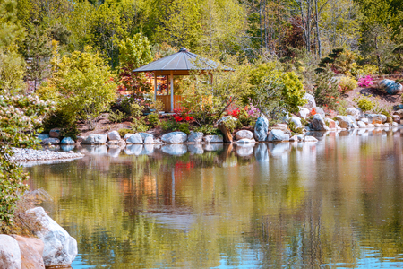 view of the vistas at the japaense gardens in Grand Rapids Michigan Stockfoto
