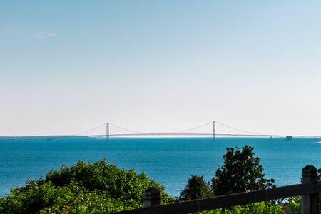 Mackinaw Bridge in Lake Michigan from Mackinac Island Stock fotó