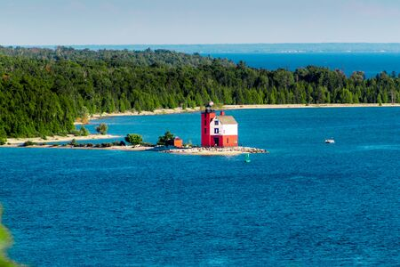 Landscape shot of the original lighthouse of Mackinac Island on a sunny day Stock fotó