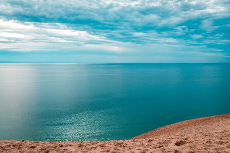 Beautiful cloudy day looking out over Lake Michigan at the Sleeping Bear Dunes National Lakeshore