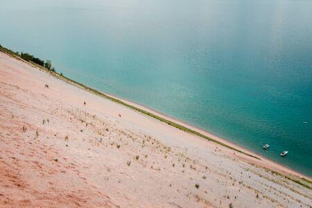 Boats anchored at the bottom of the Sleeping Bear Dunes on Lake Michigan