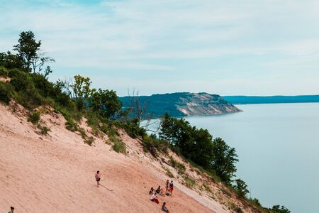 Looking at the Manitou Islands from Sleeping Bear Dunes Stock fotó
