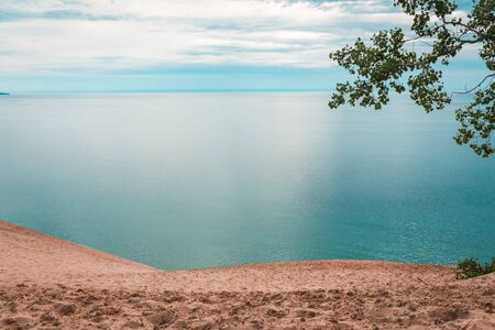 Looking out at Lake Michigan from the Sleeping Bear Dunes
