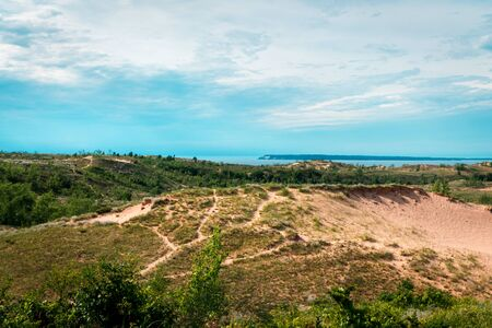 Looking out over the dunes at the Sleeping Bear Dunes National Lakeshore Stock fotó