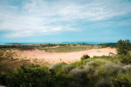 looking out over the landscape of the Sleeping Bear Dunes National Lakeshore Stock fotó