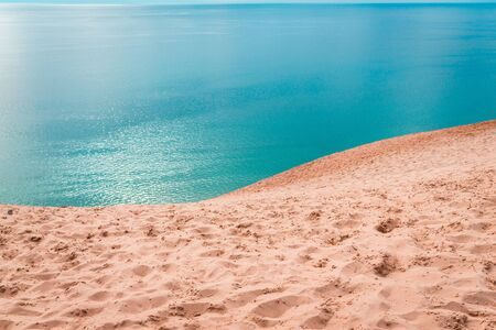 Scenic overlook of Lake Michigan from the top of sleeping bear dunes