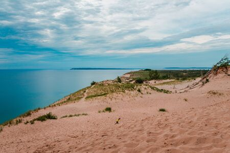 South Manitou Island from the top of Sleeping Bear Dunes Stock fotó