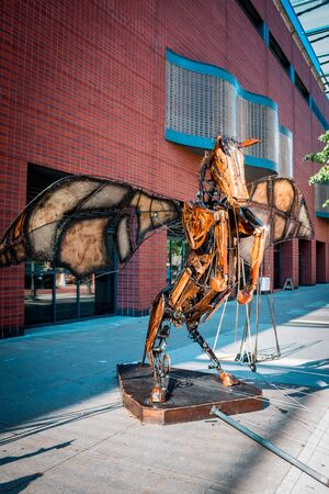 Giant animated winged pegasus statue on display during Artprize in Grand Rapids Michigan