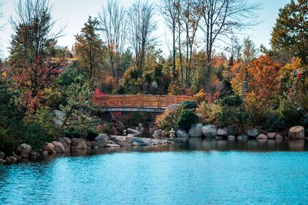 Landscape shot of the lake and bridge in the Frederik Meijer Gardens