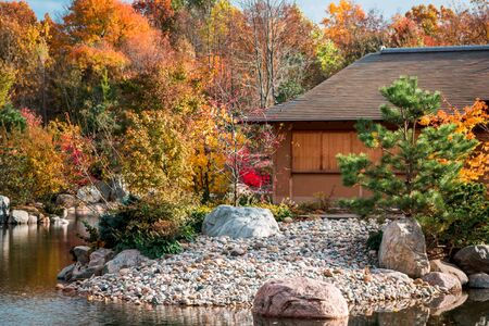 Shot of the tea house during the fall at the Frederik Meijer Gardens