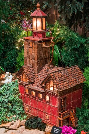 Model of a lighthouse in the train garden at the Frederik Meijer Gardens Stock fotó