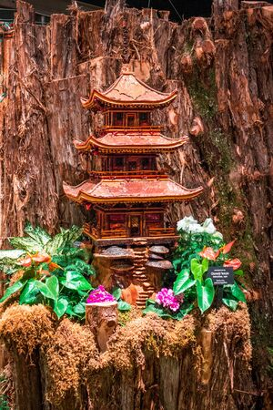 Model of a pagoda in the train garden at the Frederik Meijer Gardens