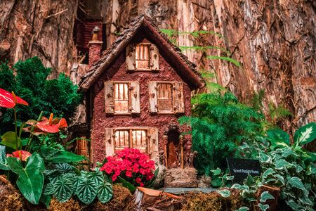 Model of a small home in the train garden at the Frederik Meijer Gardens