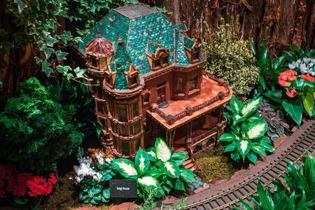 Model of a victorian house in the train garden at the Frederik Meijer Gardens