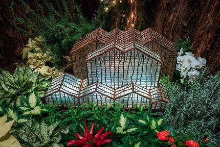 Model of the greenhouses at the Frederik Meijer Gardens in the train garden at the Frederik Meijer Gardens Stock fotó