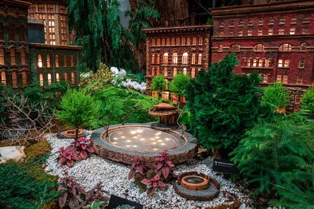 Model of the Rosa Parks circle and downtown Grand Rapids in the train garden at the Frederik Meijer Gardens