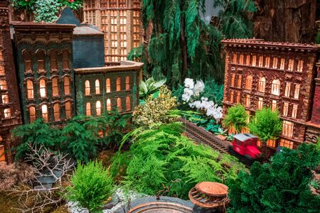 Model of the Rosa Parks circle and downtown Grand Rapids Michigan in the train garden at the Frederik Meijer Gardens with a red train