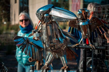 Art piece of a crow made out of recycled metal on display during artprize 8 in Grand Rapids Michigan Sajtókép