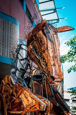 Close up shot of a pegasus statue on display during artprize in Grand Rapids Michigan