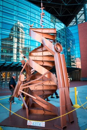 DNA strand statue on display during artprize in Grand Rapids Michigan