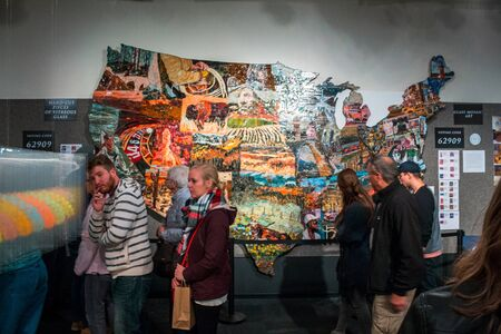 Painted map of the United States on display during artprize in Grand Rapids Michigan Sajtókép