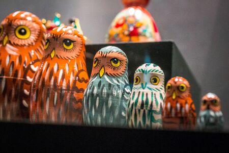Nesting owl dolls on display at the Frederik Meijer Gardens in Grand Rapids Michigan