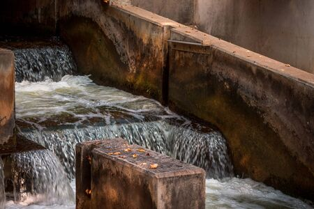 water fall steps at the fish ladder in downtown Grand Rapids Michigan