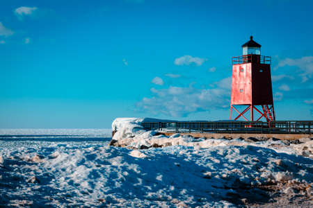 Charlevoix Michigans South Pier Lighthouse frozen over