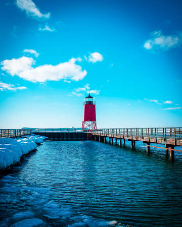 Spring thaw after a long winter at the lighthouse in Charlevoix Michigan